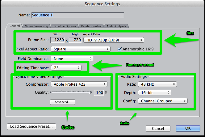 Final Cut Pro Sequence settings